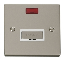 Click Deco Pearl Nickel Unswitched Fused Spur + Neon VPPN753WH