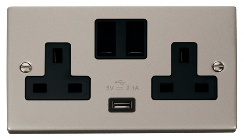 Click Deco Pearl Nickel USB Double Switched Socket VPPN770BK