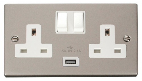 Click Deco Pearl Nickel USB Double Switched Socket VPPN770WH