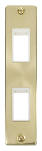 Click Deco Satin Brass 2 Gang Architrave Plate VPSB472WH