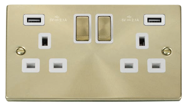 Click Deco Satin Brass Twin USB Double Socket VPSB580WH
