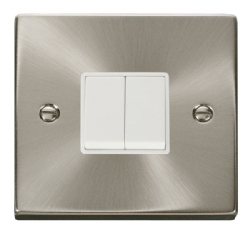 Click Deco Satin Chrome 2 Gang 2 Way Switch VPSC012WH
