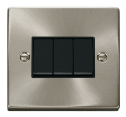 Click Deco Satin Chrome 3 Gang 2 Way Switch VPSC013BK