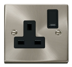 Click Deco Satin Chrome 13A Single Switched Socket VPSC035BK