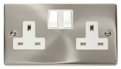 Click Deco Satin Chrome 13A Double Switched Socket VPSC036WH