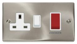 Click Deco Satin Chrome 45A DP Switch and Socket VPSC204WH