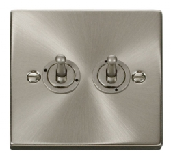 Click Deco Satin Chrome 2 Gang 2 Way Toggle Switch VPSC422