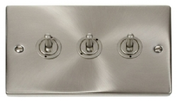 Click Deco Satin Chrome 3 Gang 2 Way Toggle Switch VPSC423