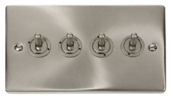 Click Deco Satin Chrome 4 Gang 2 Way Toggle Switch VPSC424