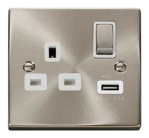 Click Deco Satin Chrome USB Single Switched Socket VPSC571WH