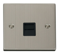 Click Deco Stainless Steel Master Telephone Socket VPSS120BK