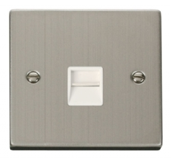 Click Deco Stainless Steel Master Telephone Socket VPSS120WH