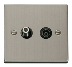 Click Deco Stainless Steel Satellite & Coaxial Socket VPSS157BK