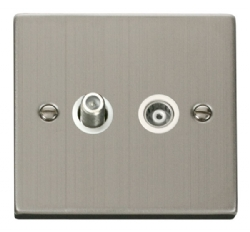 Click Deco Stainless Steel Satellite & Coaxial Socket VPSS157WH
