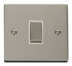 Click Deco Stainless Steel 1 Gang 2 Way Switch VPSS411WH