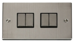 Click Deco Stainless Steel 4 Gang 2 Way Switch VPSS414BK