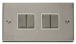 Click Deco Stainless Steel 4 Gang 2 Way Switch VPSS414WH