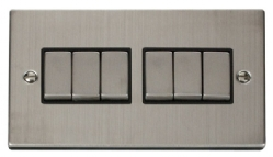 Click Deco Stainless Steel 6 Gang 2 Way Switch VPSS416BK