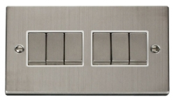 Click Deco Stainless Steel 6 Gang 2 Way Switch VPSS416WH