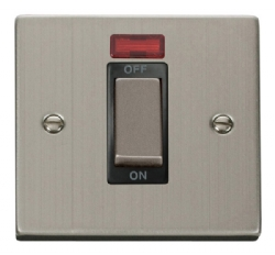 Click Deco Stainless Steel 1 Gang 45A DP Switch + Neon VPSS501BK