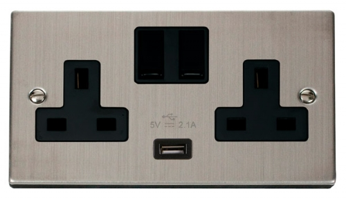 Click Deco Stainless Steel USB Double Switched Socket VPSS770BK