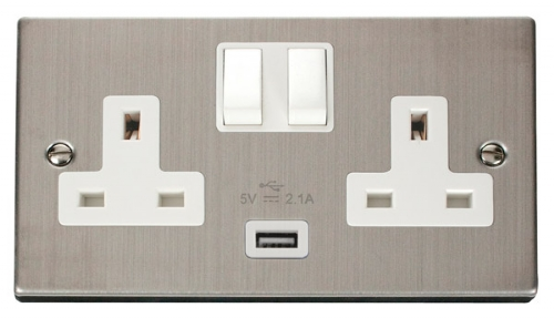 Click Deco Stainless Steel USB Double Switched Socket VPSS770WH