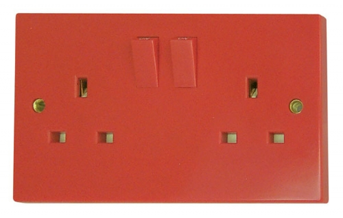 Click Red 13A 2 Gang DP Double Socket (Twin Earth, Clean Earth)