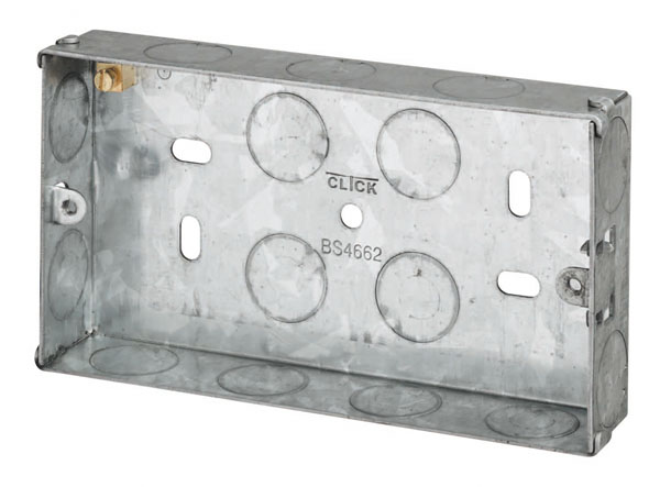 2 Gang 25mm Deep Galvanised Knock Out Box