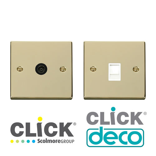 Deco Polished Brass TV,Data&Tel