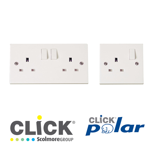 Click Polar White Socket Outlets