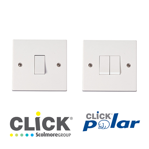 Click Polar White Plate Switches