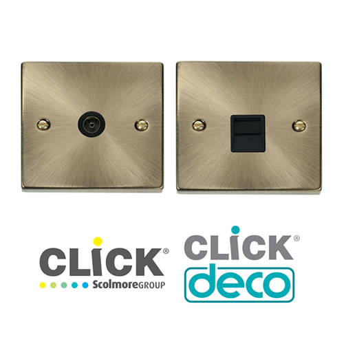 Deco Antique Brass TV, Data, Tel