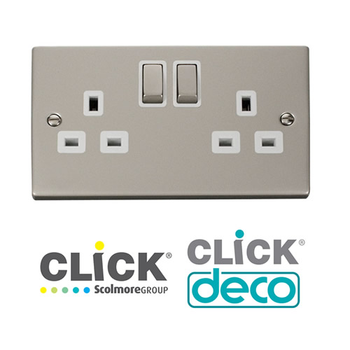 Deco Pearl Nickel Socket Outlets