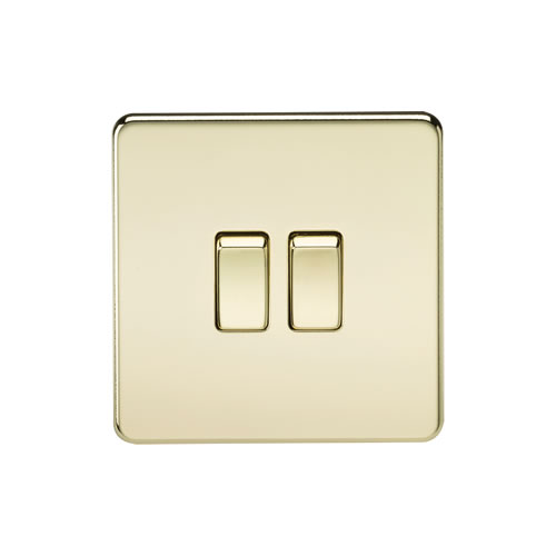 Knightsbridge Polished Brass 10A 2 Gang 2 Way Switch SF3000PB