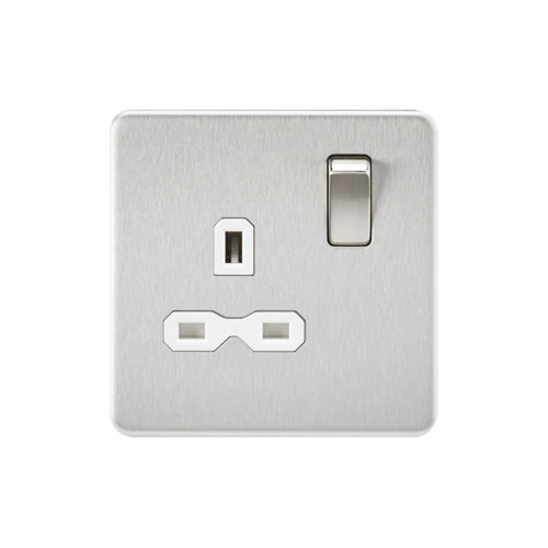 Knightsbridge B/Chrome 13A Single Switched Socket SFR7000BCW