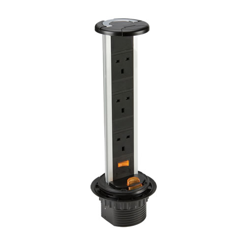 Knightsbridge IP54 13A 3 Gang Recess Mount Pop Up Socket SK006