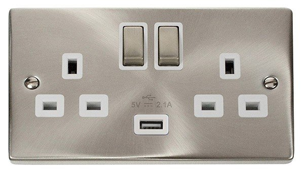 Click Deco Satin Chrome 13A Double Switched USB Socket VPSC570WH